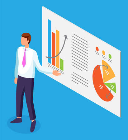 Businessman holds presentation on a large stand, shows on diagrams, a bar, pie charts. Data analysis and monitoring. Anual report presentation of the company. Promotion and capital investment 向量圖像