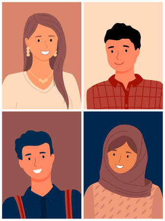 Images of people of different races. Cultural differences. International community. multi-ethnic group community. Interracial friendship. Muslim woman, European woman, Muslim, Asian, European 向量圖像