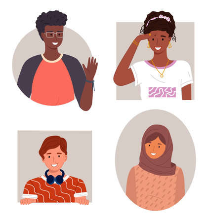 International people avatars, mix races young guys and girls, diverse nations, ethnicity, smiling african guy in glasses waving hand, black girl, brown-haired guy, arabic woman wearing hijab
