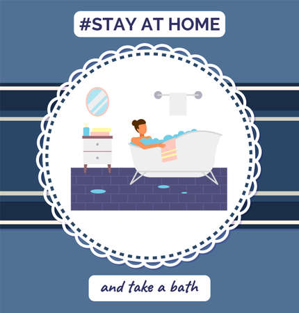 Stay at home and take a bath. Quarantine self-isolation at home. Prevention of covid-19 or coronavirus. Virus outbreak. People staying safe, careful. Home activities, leisure during world epidemic