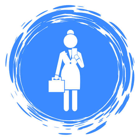 Flat vector silhouette of businesswoman with briefcase and smartphone. Head woman. Vector schematic simplified figure. Business infographics. Female in strict white suit. Rounded edges shape