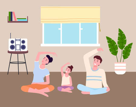 Family play sports at home together. Dad, mom and daughter do slopes, fitness stretching. Go in for sports at home. Boombox on table, potted plant, window with Roman curtain. Stay inddors. Flat image Ilustración de vector