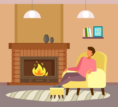 Man sitting at armchair near fireplace and relaxing. Guy enjoy leisure time, like spend time at home. Cartoon character enjoy of fire flames. Man dreaming or sleeping. Indoor recreation at home
