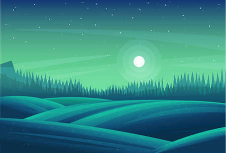 Night forest landscape. Blue-green fields, meadows, strip of coniferous wood. Bright meadows and stars. Beautiful nightly natural forest landscape. Fir, Christmas trees, pines, dense thickets