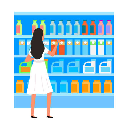 Girl next to the counter. Supermarket sales and discounts. Shopping in the store. Woman in the shop is buying detergents. Female character shopping with a choice between cleaning powders and liquids Vektoros illusztráció