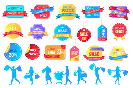 Set of big sale banners on white background. Discount special offer. End of season special proposition banner. Best price advertising poster with people silhouettes happy buyers holding purchases