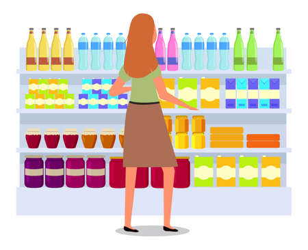 Girl next to the drinks counter. Supermarket sales and discounts. Shopping in the store. Woman in the shop is buying liquid. Female character shopping makes a choice between bottles and jars Иллюстрация