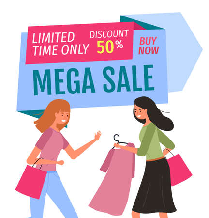 Girl with hanger shopping. Buyers are selecting clothes in a store. Mega sale and limited-time discount concept. Female characters with purchases spend time together. Woman showing dress to her friend