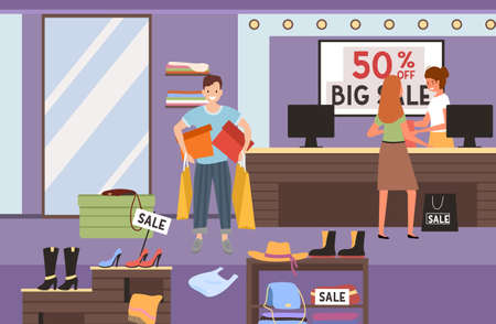 The girl is paying for the purchase at the checkout. A woman is buying clothes in the store. Cashier serves the client on sale. Man with shopping bags in his hands is smiling. Fifty percent off sale