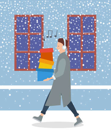 Man is listening to the music. Young handsome fashion shopper guy is singing and holding colorful boxes in his hands. Male character with headphones on his head is walking on the street in winter Illustration