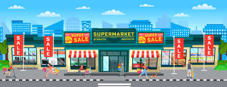 Buyers are going out of the store with purchases in their hands. Supermarket sales and discounts. Women with bags in the shopping cart. The girl walking the dog. A group of people rushing to the sale Иллюстрация