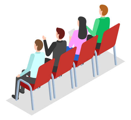 Isometric image of people sitting on chairs. Listeners are sitting in negotiations or presentations. Group of people at the conference. Business training, cooperation. Organization Members. Flat image