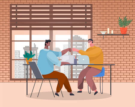 Men office workers fists bumping at table with laptops. Victory celebration, business cooperation. Team building. Teamwork. Office space, brick walls, bookshelf, potted plant. Flat vector image.