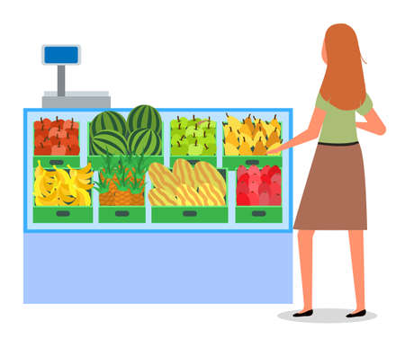 Girl next to the food counter. Supermarket sales concept. Shopping in the grocery store. Woman in the store is buying fresh food. Female character shopping with a choice between fruit and vegetables Иллюстрация