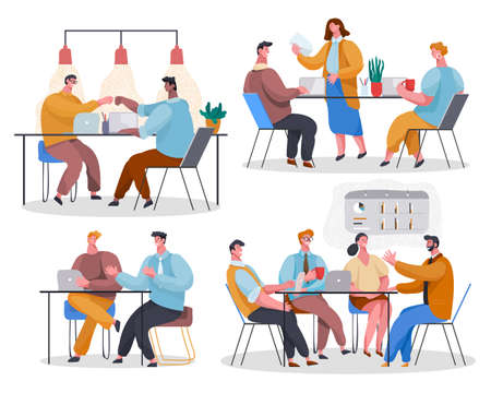 Set of office staff. Woman reading document. Colleagues give 5 at desktop. Employees discuss project. The team listens to leader, communicate, chat, gossip. Cartoon vector characters in office Vetores