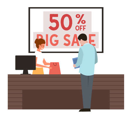 The guy is paying for the purchase at the checkout. The man is buying clothes in the store. Cashier is serving the customer on sale. Male characters during shopping and fifty percent discounts