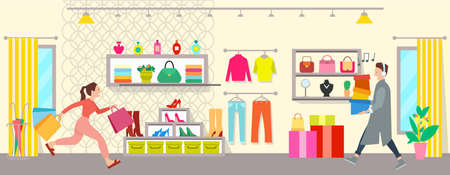 A group of people are shopping in a boutique. Male character with headphones is going with boxes in his hands. Woman with shopping bags is running after purchases. Buyers spend time in the mall