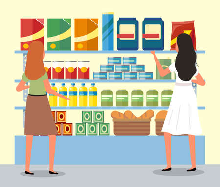 Girls next to the food counter are choosing goods. Women are communicating during a shopping. Supermarket sales and discounts concept. Female buyer is shopping in the grocery store with purchases