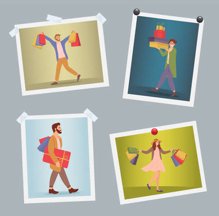 Set of illustrations on the theme of holiday shopping and presents for christmas. Happy people buy gifts. The group with packages with purchases in their hands. Buyers pictures are hanging on the wall