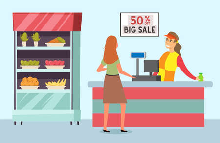 Buyer is shopping in the grocery store with purchases. Supermarket sales and discounts concept. Shopping woman pays by card and buys food. Female character goes to the checkout. Cashier stacks goods