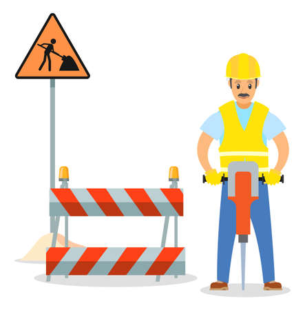 Road repair flat vector illustration. Male worker with jackhammer. Maintenance and construction of pavement concept. Special equipment for fencing the way. Street barrier for roadwork and building  イラスト・ベクター素材