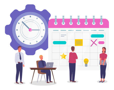 Planning schedule and time management concept banner, man and woman doing organization. Business people meeting, timetable formation implementation a project. Presentation with characters and clock