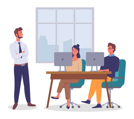 Office worker characters meeting concept. Businessman talking to colleagues siting at the desks with laptop. Business people talking communication, discuss project, participate in business training