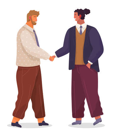 Two businessman handshake. Good deal, concept of business partnership vector cartoon style characters conclude success agreement. Men dressed formally greet each other at a meeting shake hands