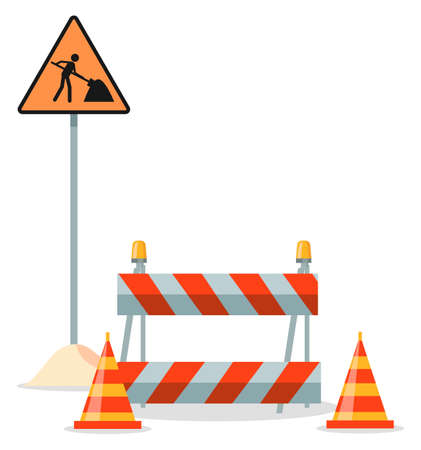 Road repair flat vector illustration. Under construction information sign. Maintenance and construction of pavement. Special equipment for fencing the way. Street barrier for roadwork and building