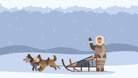Arctic man using sledge with sled dogs traveling on snowdrifts. Character waving hand. Snowing weather in north. Eskimo person with domestic animals northern husky outdoors, dog team in action