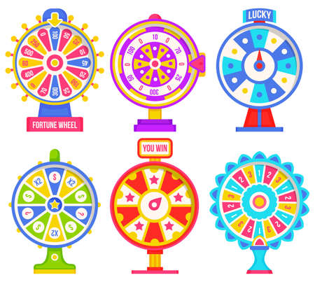 Set of fortune weels with winning numbers and multi-colored sectors, flat style illustration. Game fortune wheel concept. Casino and gambling vector. Illustration of casino fortune, wheel winner game 矢量图像