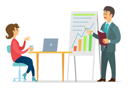 Office workers characters discussing indicators. Business people man and woman talking communication, discuss presentation graphs and charts. Business meeting and consideration of working issues Ilustração