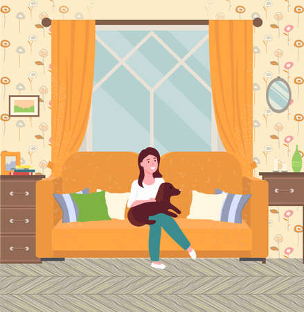Girl holding her beloved dog, sitting on sofa with pillows room interior flat vector illustration. A small dachshund dog sits on his mistress s lap in living room. Pets in the apartment, animal care