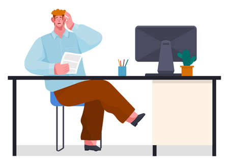 Yuong businessman experiencing stress at work because of the deadline and office chaos. Man sitting at a table with computer, holding paper document, character surprised opened his mouth and eyes wide