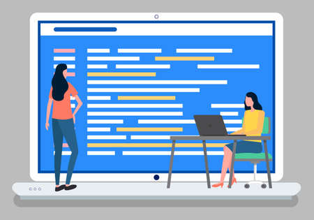 Women office workers communicate, partnership and discussion graphical business report with text document in visual presentation. Analysis teamwork. Development of a plan how to attract customers