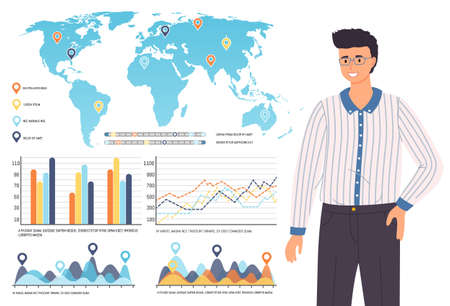 Economical geography. Vector world map and infographics design template and a man scientist or analyst. Speech by a specialist with a report on major global indicators with marks on the continents