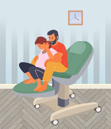 Pregnancy preparing, wife and husband make a position check on a medical chair. Exercising for pregnant woman, giving birth position or pose. Female character waiting for childbirth with caring man