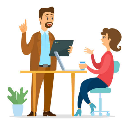 Office workers characters discussing matters. Business meeting and consideration of working issues. Business people man and woman talking communication, famale sitting at office desk with laptop Stock Illustratie