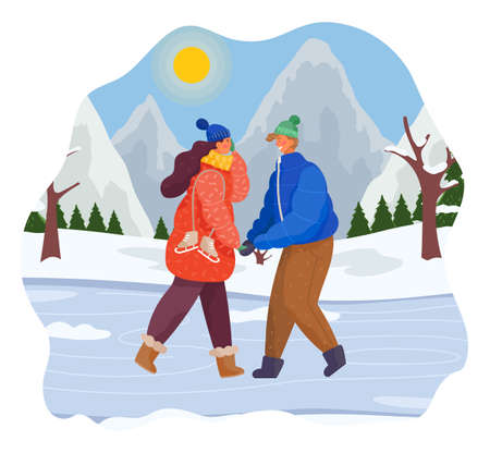 Man and woman together in snow covered park on the ice lake. Couple have fun on the rink. People walking and holding hands outdoor in cold weather winter landscape with coniferous trees, winter fun Illusztráció