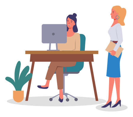 Office meeting and consideration of working affairs. Office workers women discussing project. Businesswomen dressed in formal clothes siting at the table with laptop, standing in room and talking Stock Illustratie