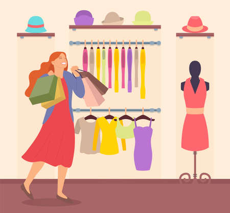 Woman is shopping in the store. Young beautiful happy fashion shopper girl picks up packages. Female character with packages in her hands in the boutique. Hanger with a wide selection of clothes