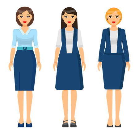 Set of vector chartoon characters. Dresscode of businesswoman. Woman wearing blue office suit, jacket and skirt. Girl wearing dress. Stylish business lady in blouse and skirt. Business person style
