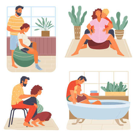 Birth positions for pregnant woman, young man support female during birth pains, help methods for painless childbirth labor, on fitness ball, at chair, squating, taking warm bath, husband help wife