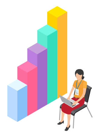 Woman worker with badge using laptop sitting near 3d growing graphic. Isometric infographics. Financial strategy. Visual presentation. Businesswoman analysing info, business statistic in internet 向量圖像