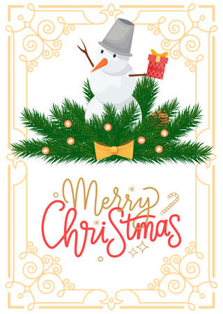Snowman with bucket on head on spruce branches in decorative ornamental frame, winter Christmas and New Year holidays decoration, vector balls with bows