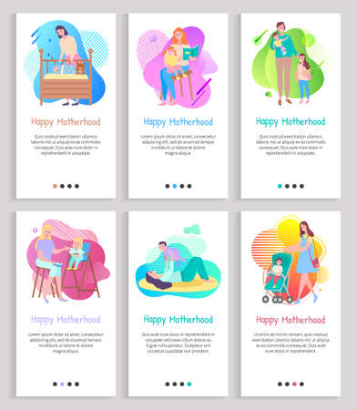 Motherhood vector, mom with kid reading book to daughter and feeding toddler, newborn baby in perambulator, maternal child laying in cradle. Website or slider app, landing page flat style