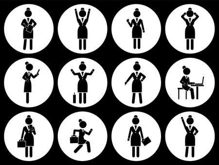 Set of business woman black silhouettes icons in round frames of different girl. Women in action. Lady dressed formally full length. Businesswoman activities at work. Positions and actions of a person