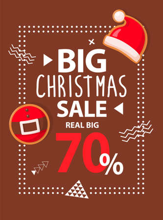 Brown poster with real big Christmas sale with Santa hat and belt. Holiday brochure with discount about 70 percent. Colorful text with white pattern vector