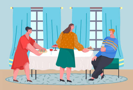 Happy people celebrating important event sitting at table in restaurant or home. Man holding glass with drink talking with ladies. Women offer cake, canapes at table. Friends colleagues meeting