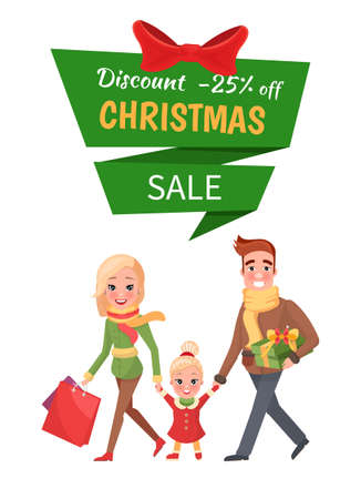 Christmas discount 25 percent off, shopping happy and smiling family buyers. Woman with colored packages, little child between mum and dad with present vector